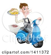 Clipart Of A White Male Waiter With A Curling Mustache Holding A Souvlaki Kebab Sandwich And Fries On A Scooter Royalty Free Vector Illustration by AtStockIllustration
