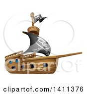 Clipart Of A Wooden Pirate Ship With A Jolly Roger Flag Royalty Free Vector Illustration