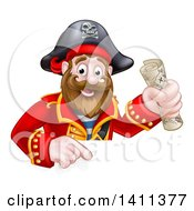 Clipart Of A Happy Male Pirate Captain Holding A Treasure Map And Pointing Down Over A Sign Royalty Free Vector Illustration