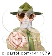 Clipart Of A Tough And Angry White Male Drill Sergeant Pointing Outwards And Wearing Sunglasses Royalty Free Vector Illustration by AtStockIllustration