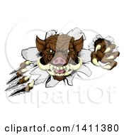Clipart Of A Brown Boar Monster Slashing Through A Wall Royalty Free Vector Illustration