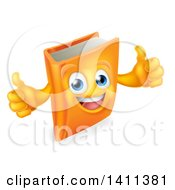 Clipart Of A Happy Orange Book Character Giving Two Thumbs Up Royalty Free Vector Illustration