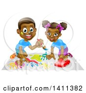 Clipart Of A Happy Black Girl Playing With A Toy Car And Boy Painting Royalty Free Vector Illustration