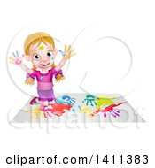 Clipart Of A Cartoon Happy White Girl Kneeling On Paper And And Painting Royalty Free Vector Illustration