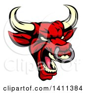 Clipart Of A Demonic Roaring Red Bull Mascot Head Royalty Free Vector Illustration by AtStockIllustration