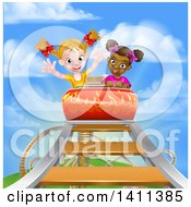 Clipart Of Happy White And Black Girls At The Top Of A Roller Coaster Ride Against A Blue Sky With Clouds Royalty Free Vector Illustration by AtStockIllustration