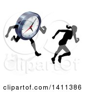 Clipart Of A Silhouetted Woman Sprinting Before A Clock Character Royalty Free Vector Illustration