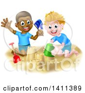 Happy White And Black Boys Playing And Making Sand Castles On A Beach