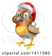 Clipart Of A Cheerful Christmas Robin In A Santa Hat Facing Left Royalty Free Vector Illustration by AtStockIllustration