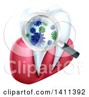 Clipart Of A 3d Magnifying Glass Discovering Germs Or Bacteria On A Tooth And Gums Royalty Free Vector Illustration by AtStockIllustration
