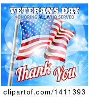 Clipart Of A 3d Rippling American Flag With Veterans Day Honoring All Who Served Thank You Text And Sky Royalty Free Vector Illustration by AtStockIllustration