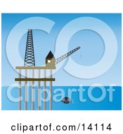Fish Swimming By An Oil Drilling Platform In The Ocean Clipart Illustration
