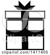 Clipart Of A Black And White Gift Icon Royalty Free Vector Illustration