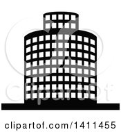 Clipart Of A Black And White Urban Building Icon Royalty Free Vector Illustration