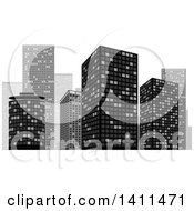Clipart Of A Grayscale Urban City Skyline Royalty Free Vector Illustration by dero