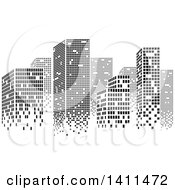 Clipart Of A Black And White Urban City Skyline Made Of Pixels Royalty Free Vector Illustration by dero