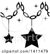 Clipart Of A Black And White Christmas Star Decoration Icon Royalty Free Vector Illustration
