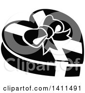 Clipart Of A Black And White Christmas Or Valentine Heart Candy Box Icon Royalty Free Vector Illustration