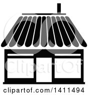 Black And White Shop Building Icon