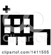 Clipart Of A Black And White Hospital Building Icon Royalty Free Vector Illustration by dero