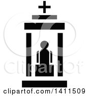 Black And White Church Building Icon