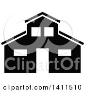 Black And White Barn Building Icon