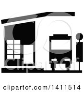 Clipart Of A Black And White Bus Stop Building Icon Royalty Free Vector Illustration by dero
