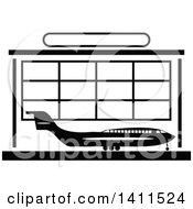 Clipart Of A Black And White Airport Icon Royalty Free Vector Illustration by dero