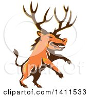 Clipart Of A Retro Rearing Razorback Boar Pig Beast With Antlers Royalty Free Vector Illustration