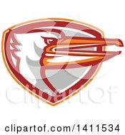 Clipart Of A Retro Pelican Bird Head Emerging From An Orange White Red And Gray Shield Royalty Free Vector Illustration by patrimonio