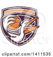 Clipart Of A Retro Pelican Bird Holding A Basketball In His Beak In A Purple White And Orange Shield Royalty Free Vector Illustration by patrimonio