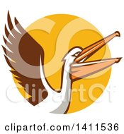 Clipart Of A Retro Pelican Bird Flying Over A Yellow Circle Royalty Free Vector Illustration by patrimonio