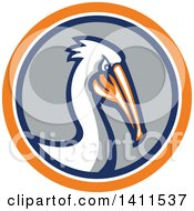 Clipart Of A Retro Pelican Bird In An Orange White Blue And Gray Circle Royalty Free Vector Illustration