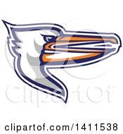 Clipart Of A Retro Pelican Bird Head In Profile Royalty Free Vector Illustration by patrimonio
