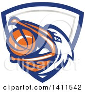 Clipart Of A Retro Pelican Bird Holding A Basketball In His Beak In A Blue White And Gray Shield Royalty Free Vector Illustration