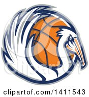 Clipart Of A Retro Pelican Bird Holding A Basketball In A Gray Blue And Orange Circle Royalty Free Vector Illustration
