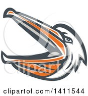 Clipart Of A Retro Mad Pelican Bird With An Open Beak Royalty Free Vector Illustration by patrimonio