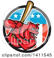 Poster, Art Print Of Cartoon Red Bulldog Baseball Player Batting In An American Themed Circle