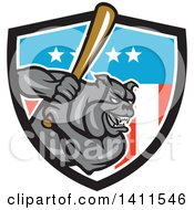 Clipart Of A Cartoon Gray Bulldog Baseball Player Batting In An American Themed Shield Royalty Free Vector Illustration
