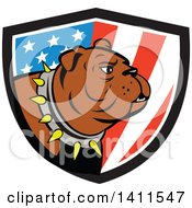Clipart Of A Cartoon Brown Bulldog Wearing A Spiked Collar In An American Themed Shield Royalty Free Vector Illustration by patrimonio