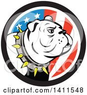 Clipart Of A Cartoon White Bulldog Wearing A Spiked Collar In An American Themed Circle Royalty Free Vector Illustration