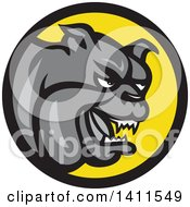 Clipart Of A Cartoon Gray Tough Bulldog In A Black And Yellow Circle Royalty Free Vector Illustration by patrimonio