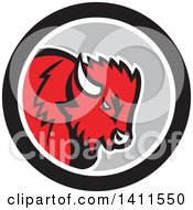 Clipart Of A Retro Red Buffalo Head In A Black White And Gray Circle Royalty Free Vector Illustration