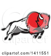 Clipart Of A Retro Charging Red Black And White Buffalo Charging With A Gray Outline Royalty Free Vector Illustration