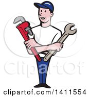 Retro Cartoon White Male Plumber Mechanic Or Handyman Holding Monkey And Spanner Wrenches In Folded Arms