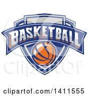 Clipart Of A Retro Basketball Shield Design Royalty Free Vector Illustration by patrimonio