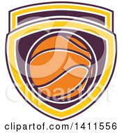 Clipart Of A Retro Basketball In A Purple White And Yellow Shield Royalty Free Vector Illustration