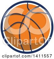 Clipart Of A Retro Basketball With A White And Blue Circle Outline Royalty Free Vector Illustration