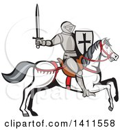 Clipart Of A Cartoon Horseback Armoured Knight Holding Up A Sword And Riding A White Horse Royalty Free Vector Illustration