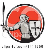 Clipart Of A Retro Knight In Full Armor Holding Up A Sword And Shield Emerging From A Black White And Red Orange Circle Royalty Free Vector Illustration